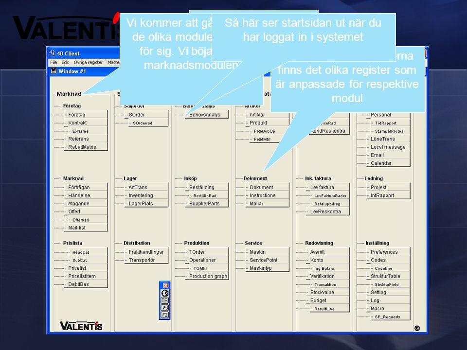 Valentis består av sex olika moduler