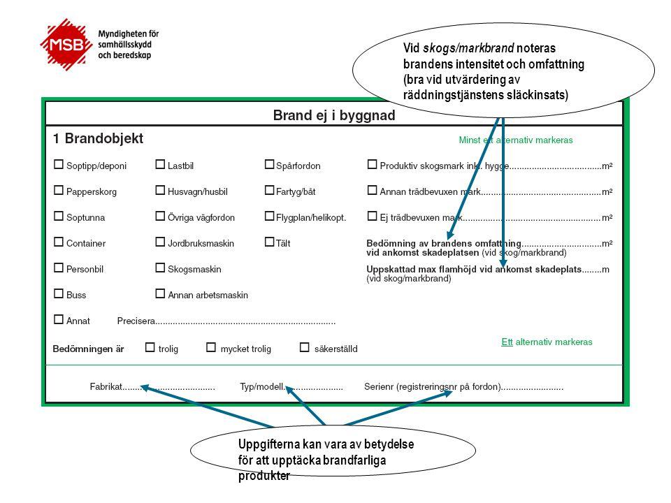 Vid skogs/markbrand noteras brandens intensitet och omfattning (bra vid utvärdering av räddningstjänstens släckinsats)