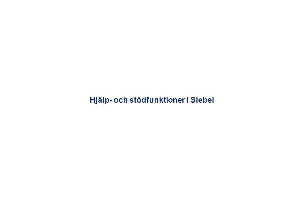 Hjälp- och stödfunktioner i Siebel