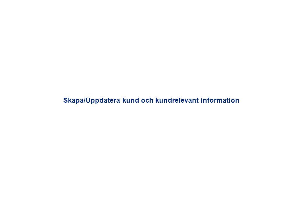 Skapa/Uppdatera kund och kundrelevant information