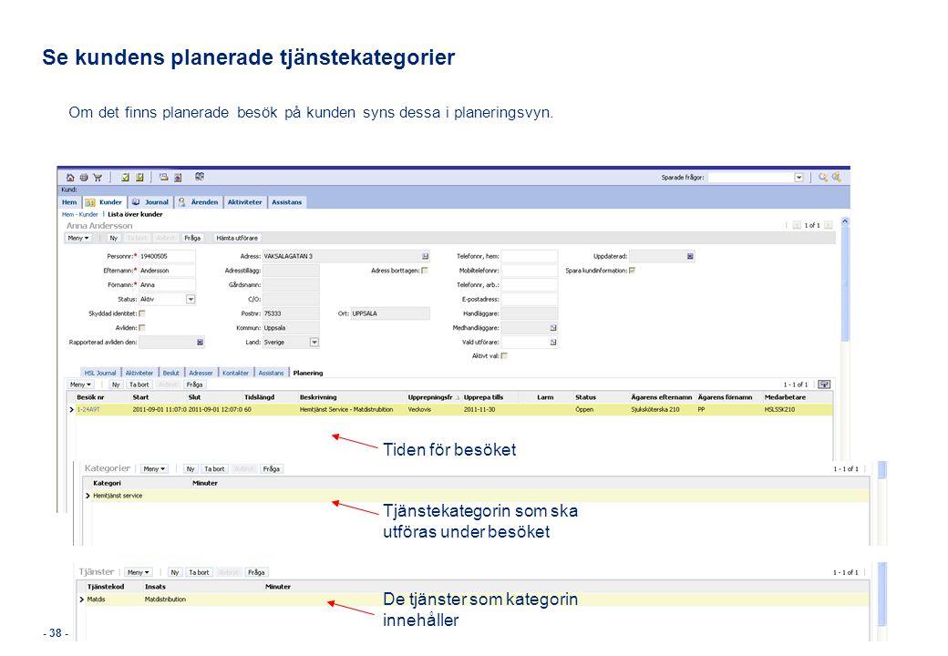 Se kundens planerade tjänstekategorier