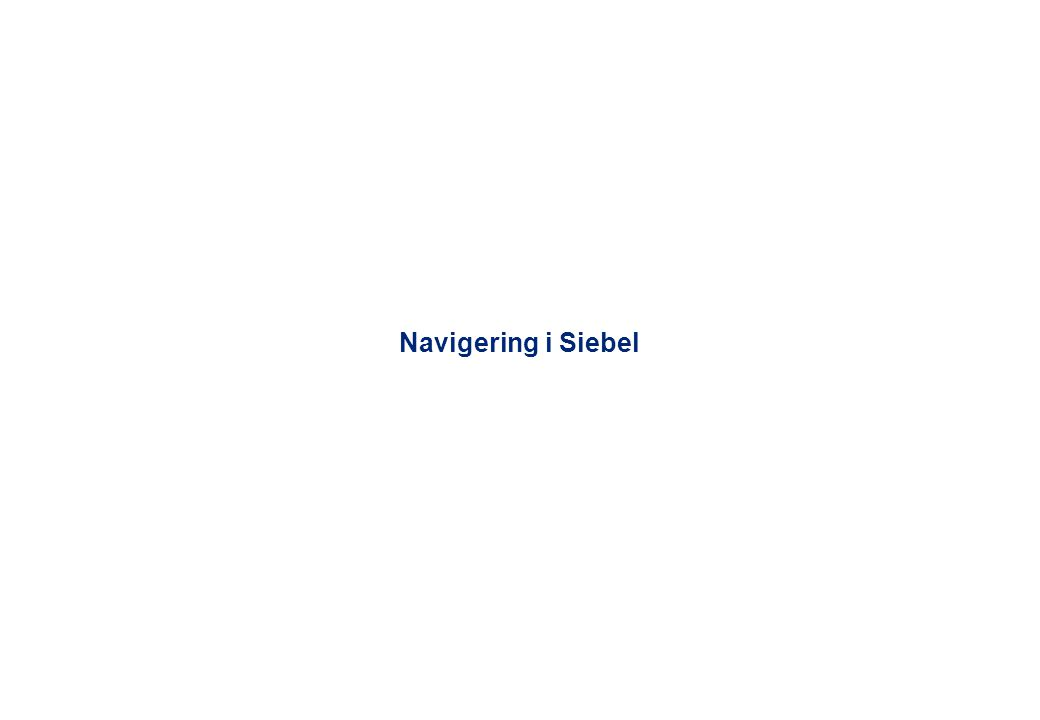 Navigering i Siebel