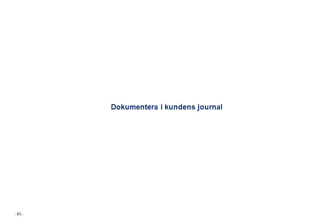 Dokumentera i kundens journal