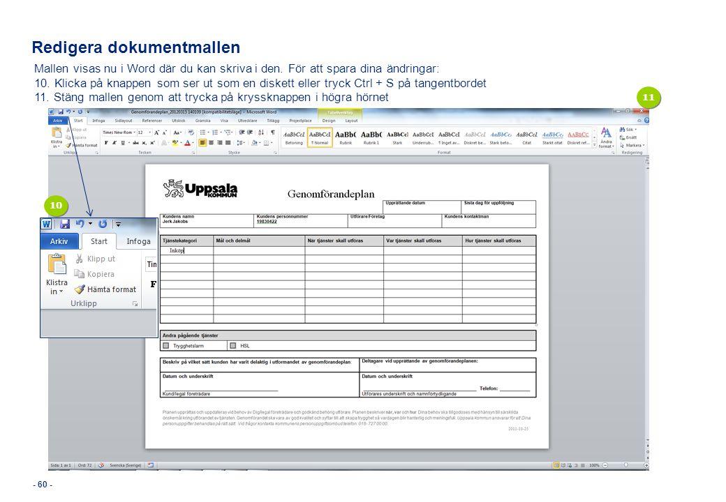 Redigera dokumentmallen