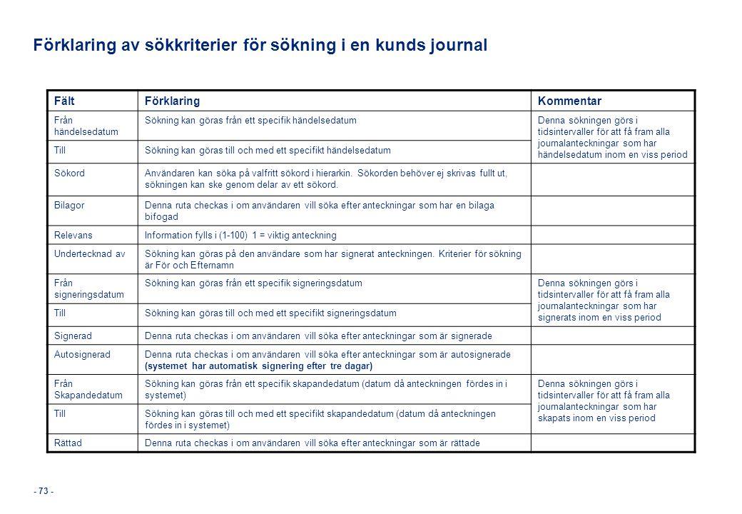 Förklaring av sökkriterier för sökning i en kunds journal