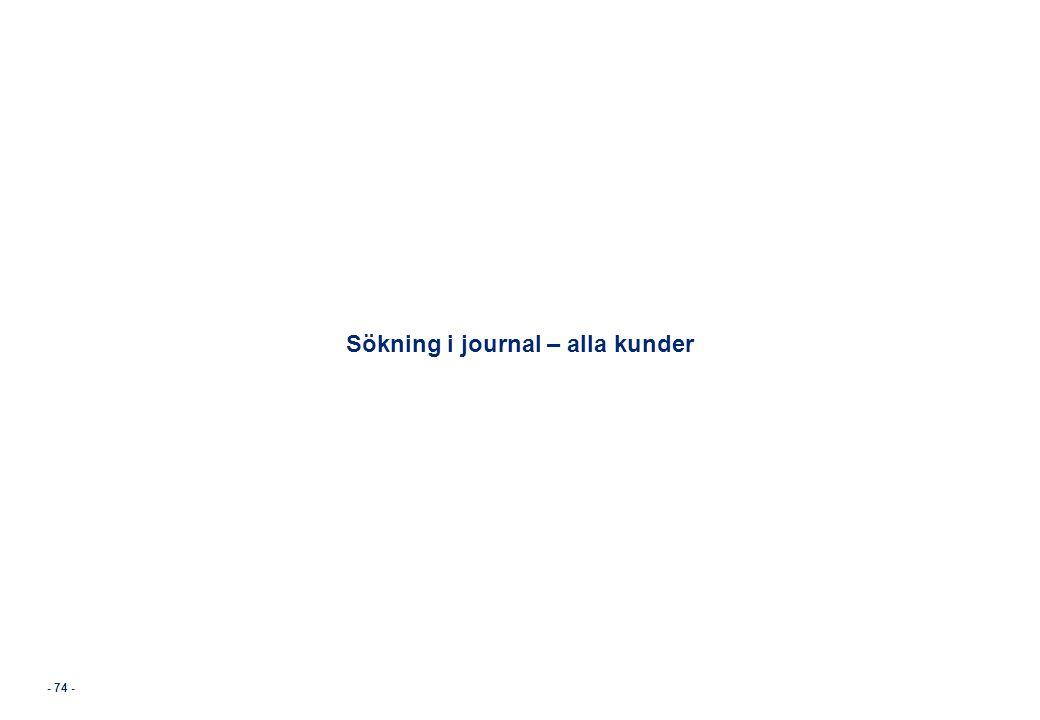 Sökning i journal – alla kunder