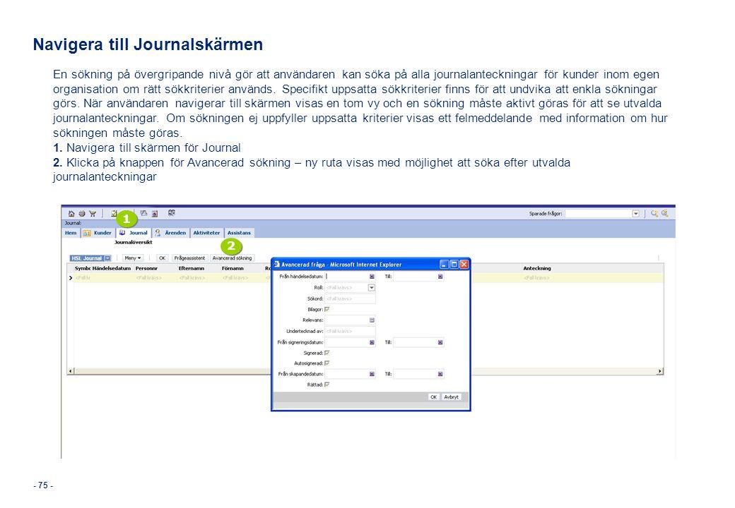 Navigera till Journalskärmen