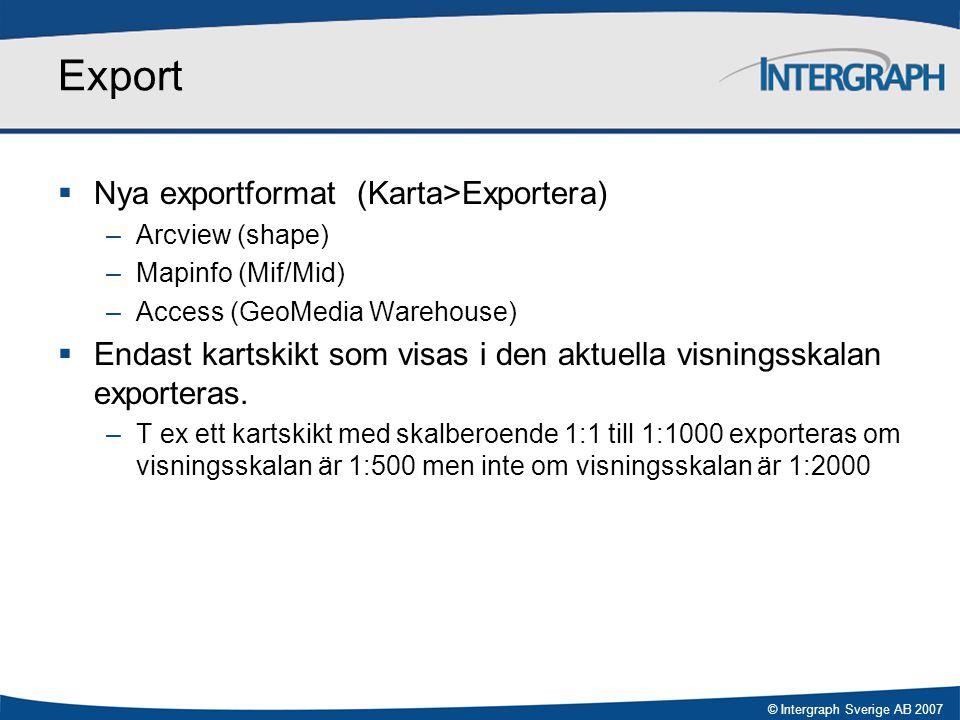 Export Nya exportformat (Karta>Exportera)
