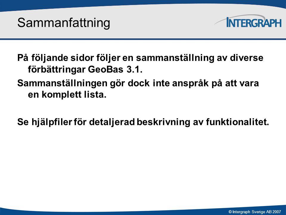 Sammanfattning På följande sidor följer en sammanställning av diverse förbättringar GeoBas 3.1.