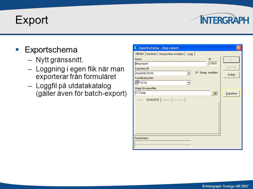 Export Exportschema Nytt gränssnitt.