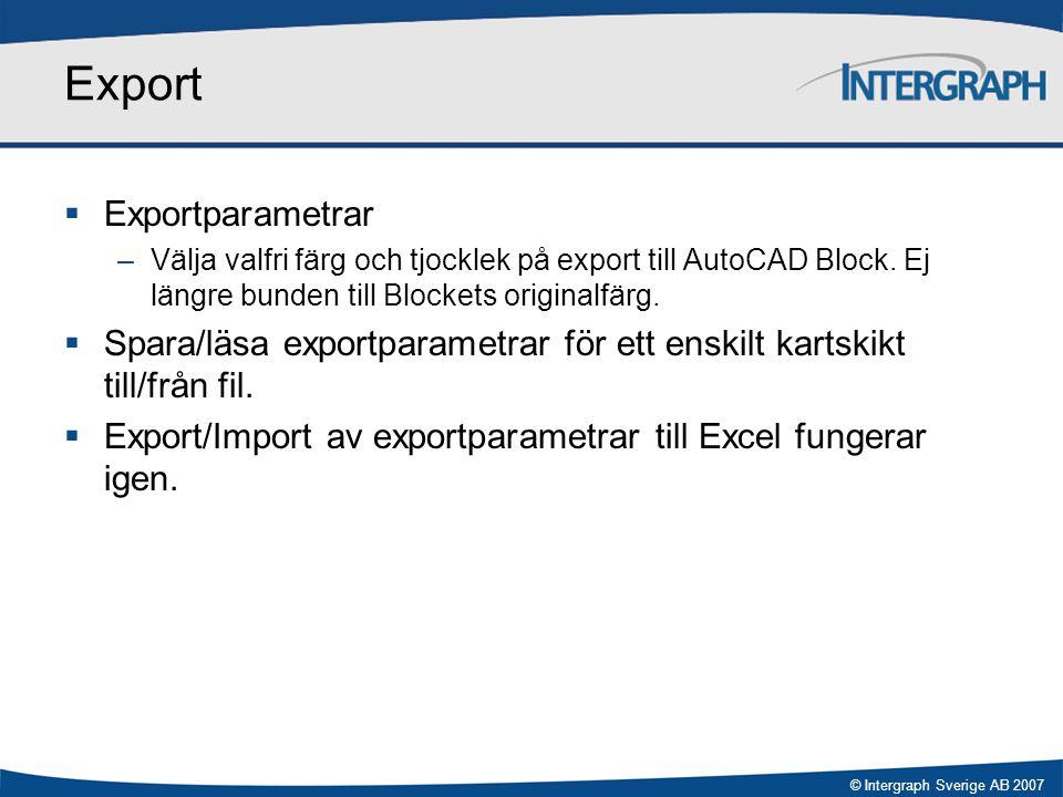 Export Exportparametrar