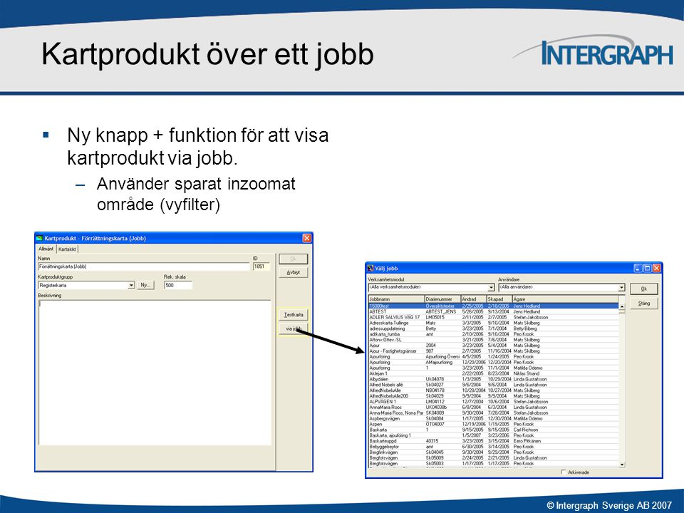 Kartprodukt över ett jobb