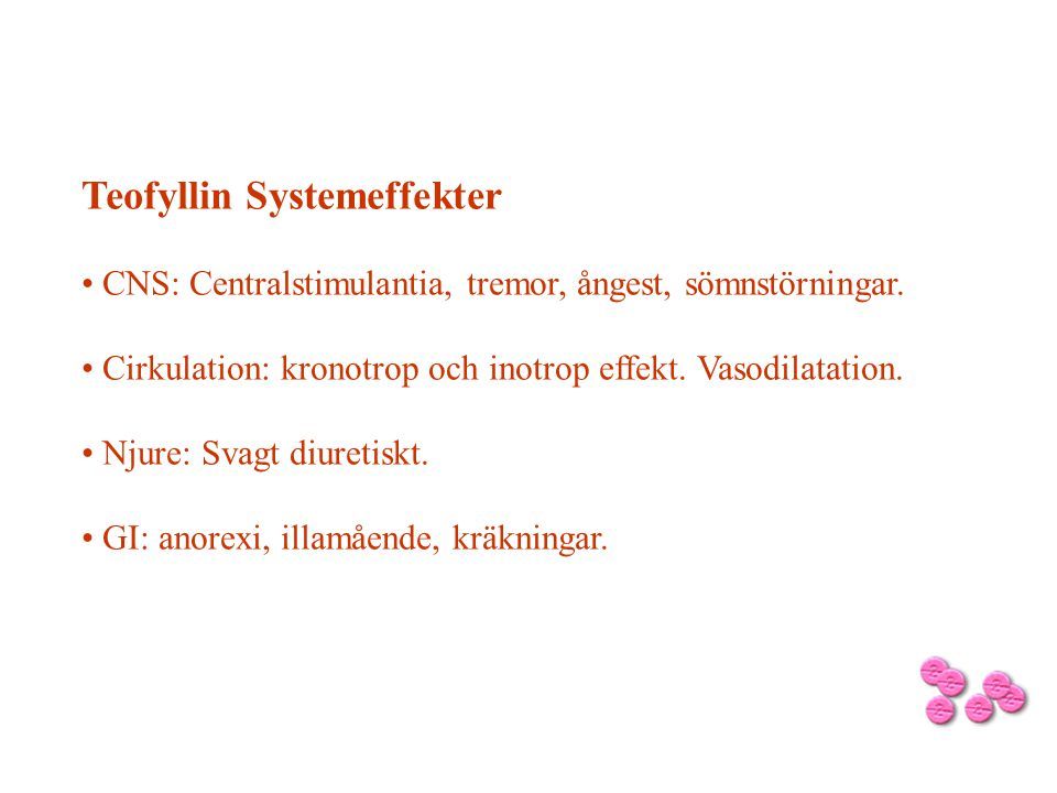 Teofyllin Systemeffekter