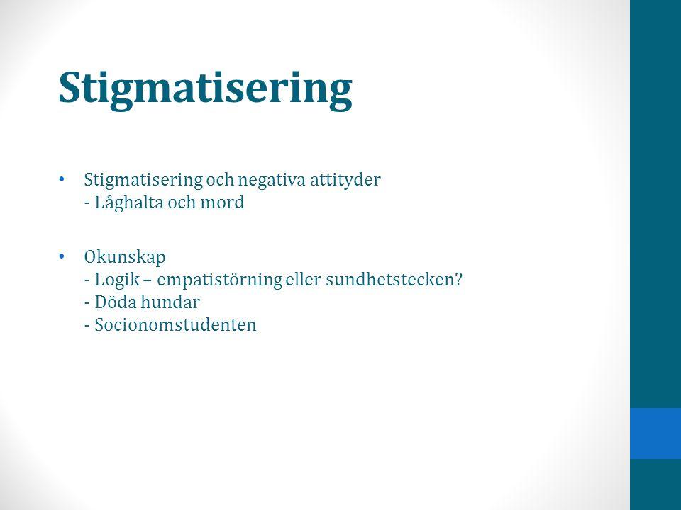 Stigmatisering Stigmatisering och negativa attityder - Låghalta och mord.