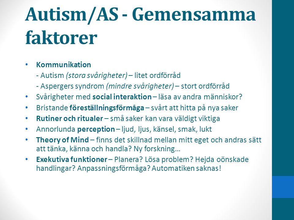Autism/AS - Gemensamma faktorer