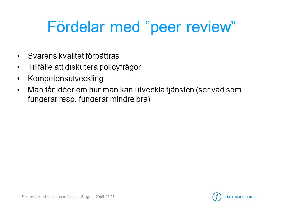Fördelar med peer review