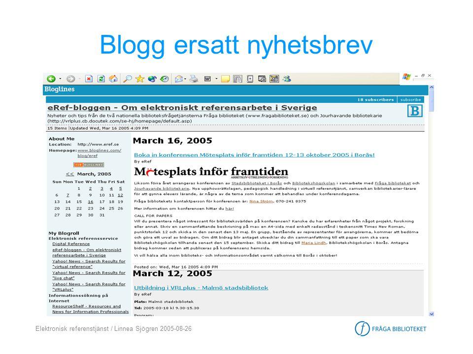 Blogg ersatt nyhetsbrev