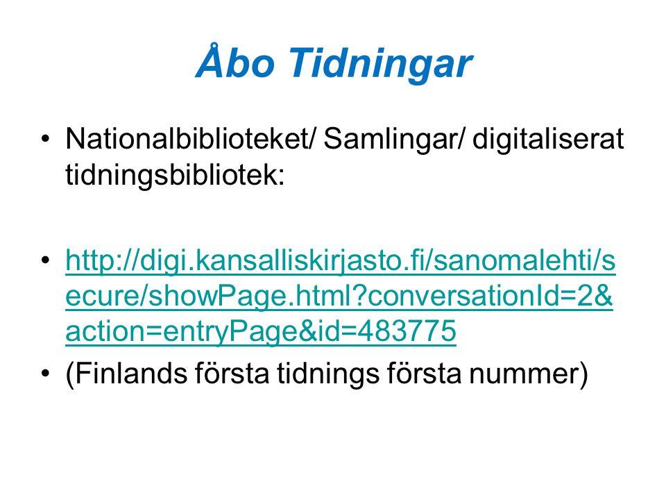 Åbo Tidningar Nationalbiblioteket/ Samlingar/ digitaliserat tidningsbibliotek: