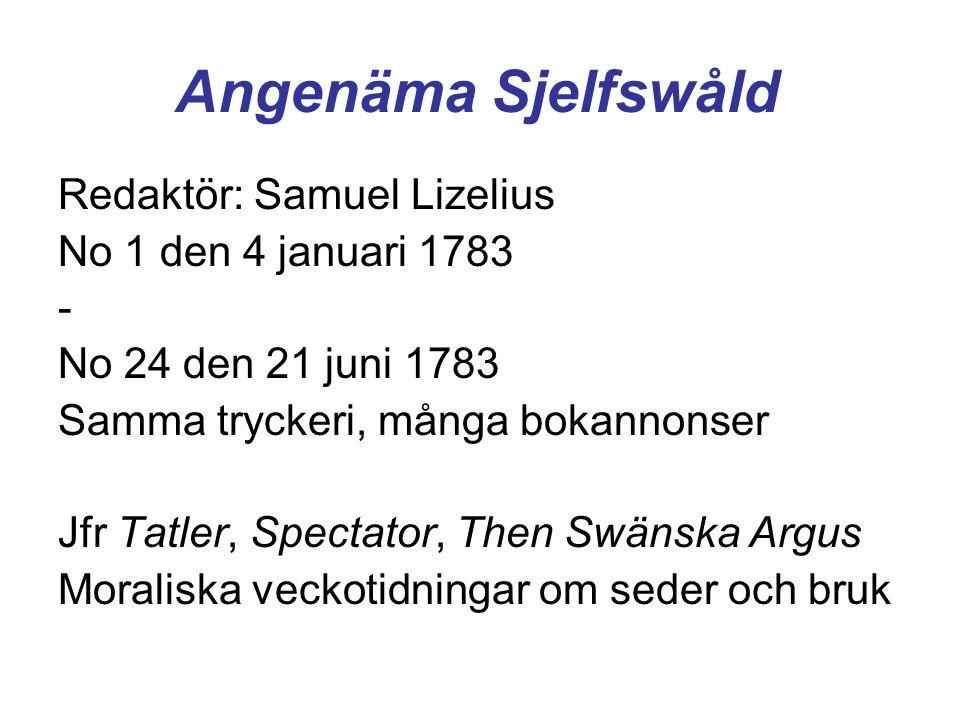 Angenäma Sjelfswåld Redaktör: Samuel Lizelius No 1 den 4 januari 1783