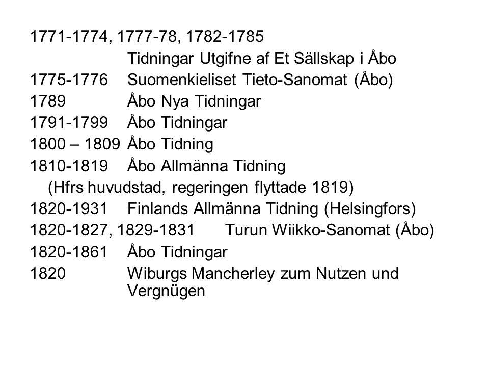1771-1774, 1777-78, 1782-1785 Tidningar Utgifne af Et Sällskap i Åbo. 1775-1776 Suomenkieliset Tieto-Sanomat (Åbo)