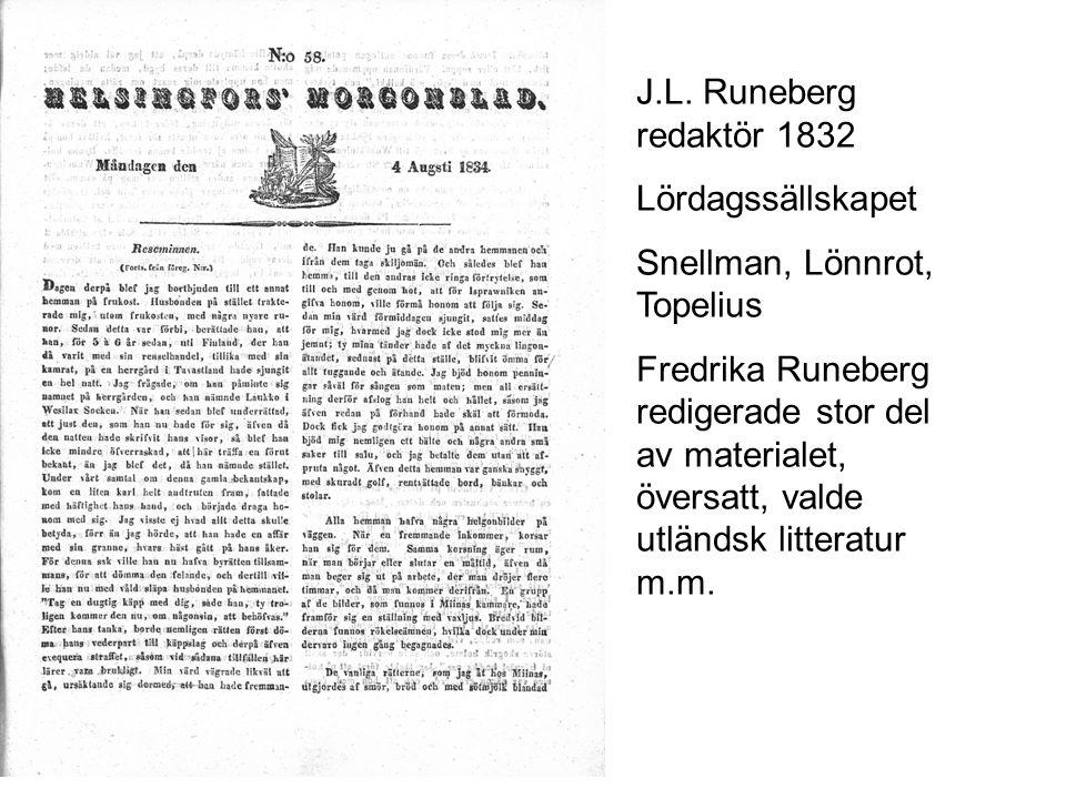 J.L. Runeberg redaktör 1832 Lördagssällskapet. Snellman, Lönnrot, Topelius.
