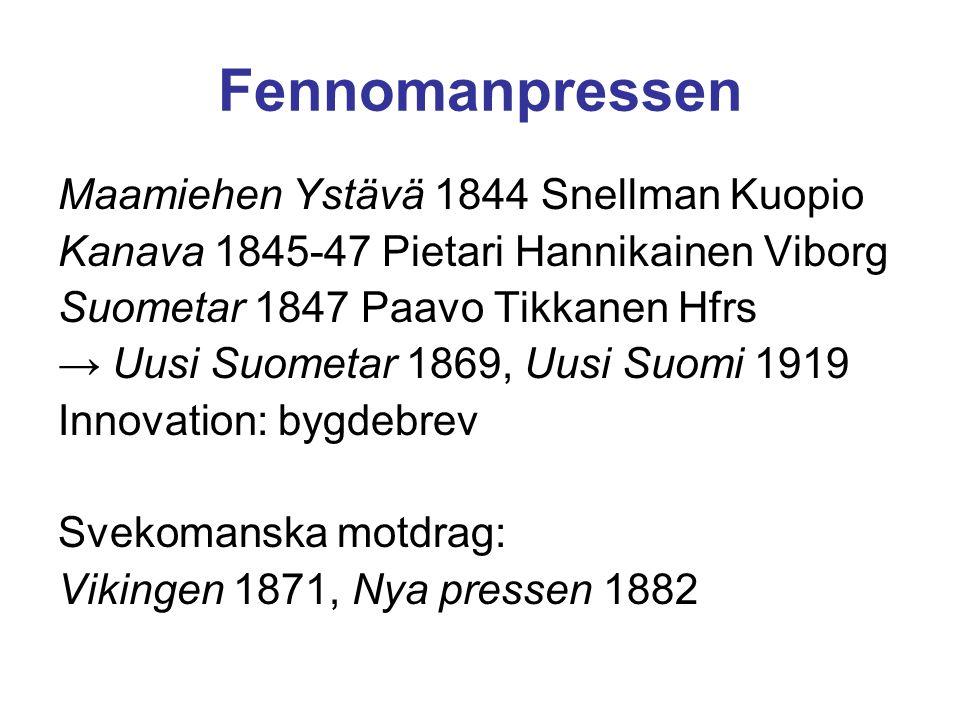 Fennomanpressen Maamiehen Ystävä 1844 Snellman Kuopio