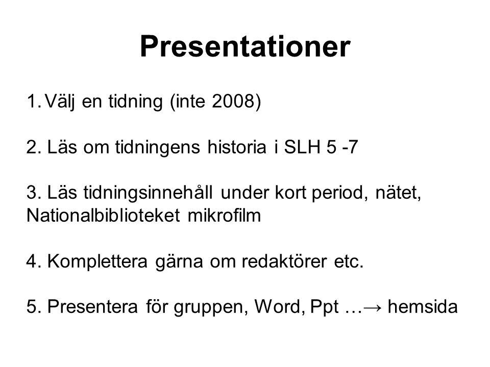 Presentationer Välj en tidning (inte 2008)