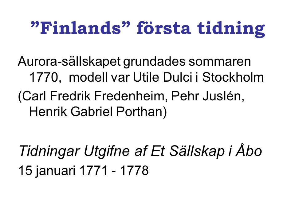 Finlands första tidning