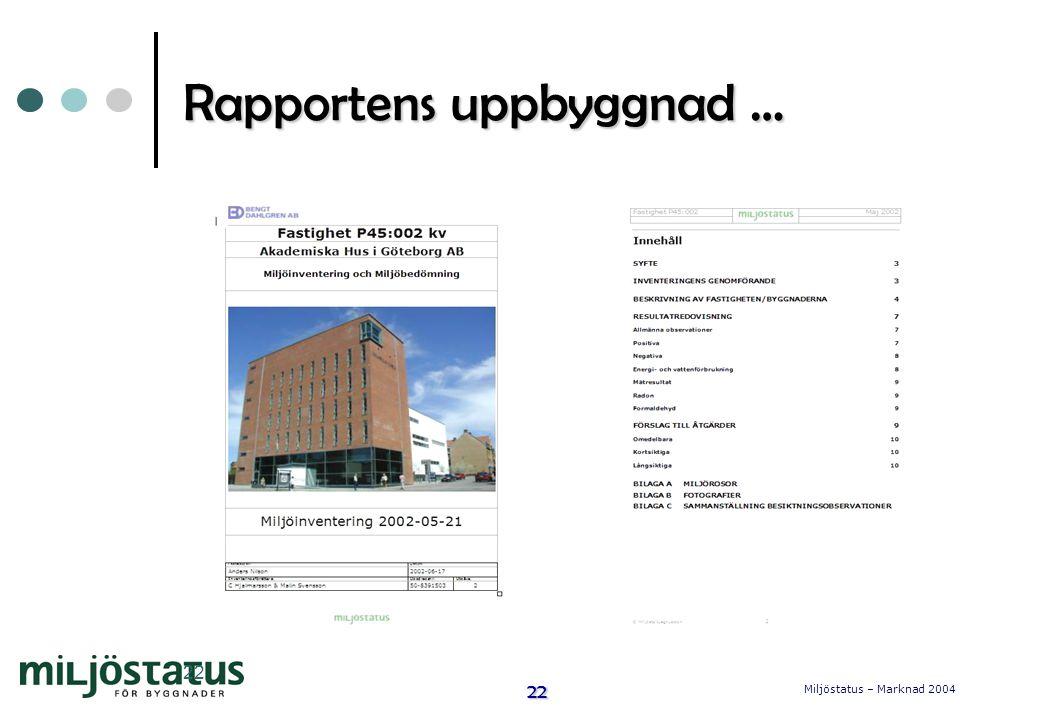 Rapportens uppbyggnad …