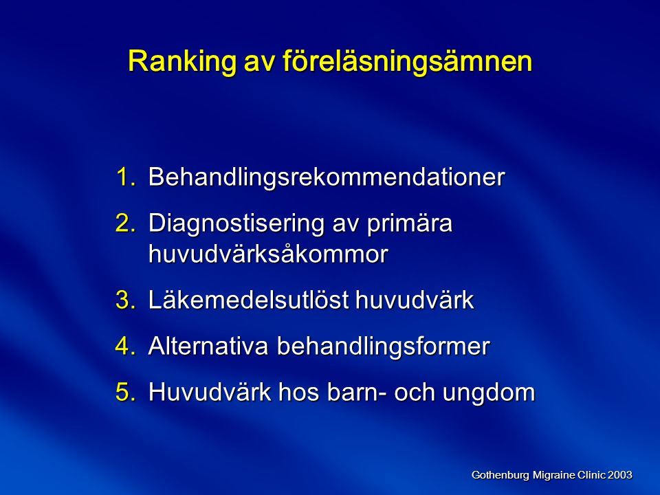 Ranking av föreläsningsämnen