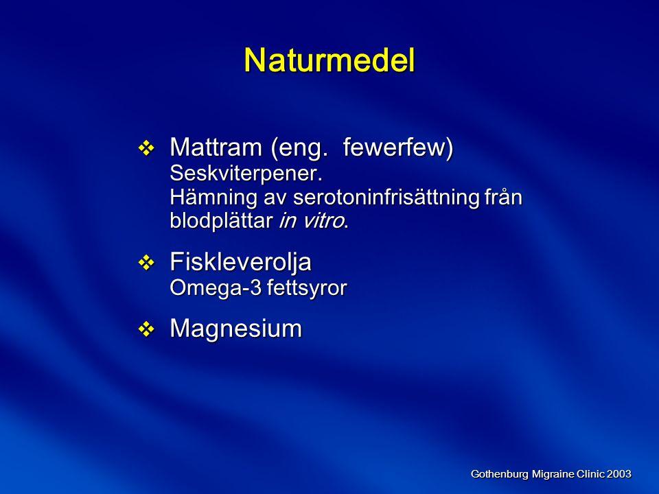 Naturmedel Mattram (eng. fewerfew) Seskviterpener. Hämning av serotoninfrisättning från blodplättar in vitro.