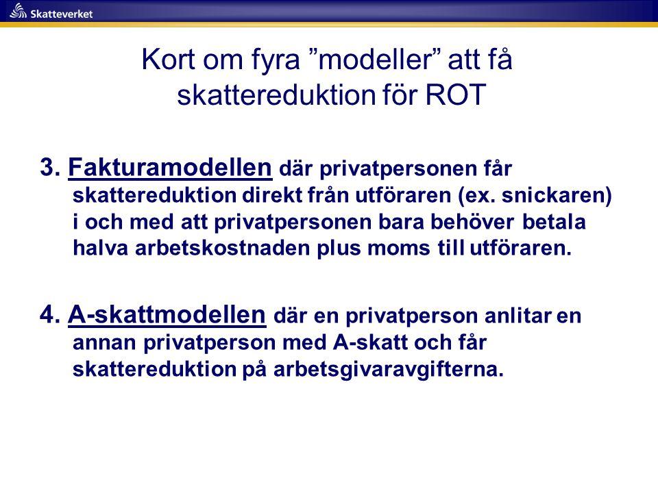 Kort om fyra modeller att få skattereduktion för ROT