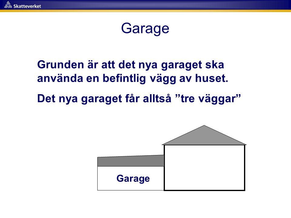 Garage Grunden är att det nya garaget ska använda en befintlig vägg av huset. Det nya garaget får alltså tre väggar
