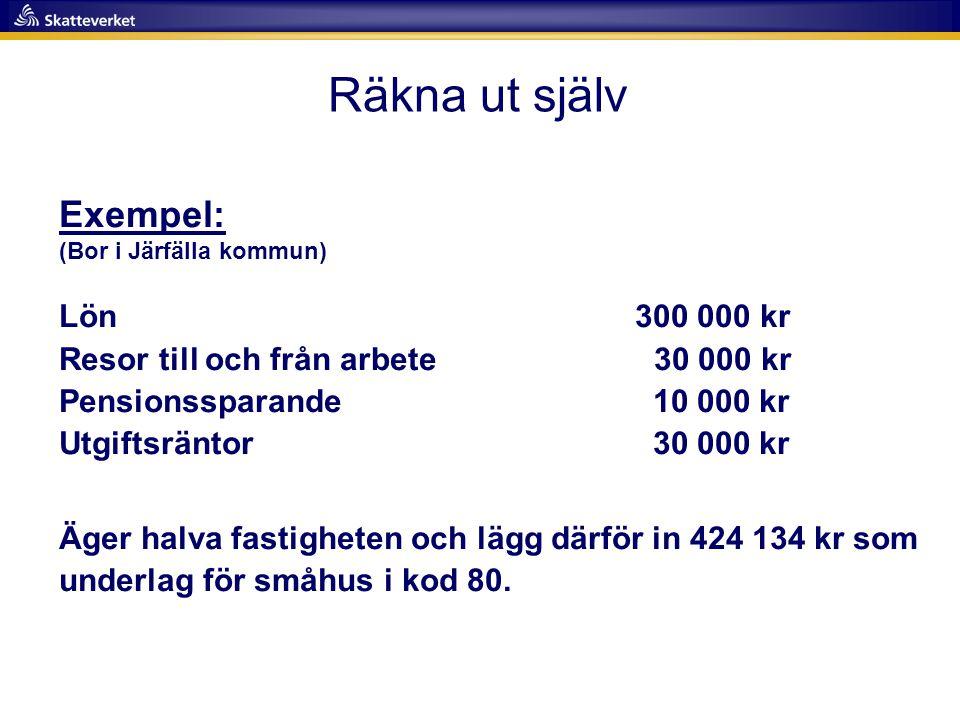 Räkna ut själv Exempel: (Bor i Järfälla kommun)