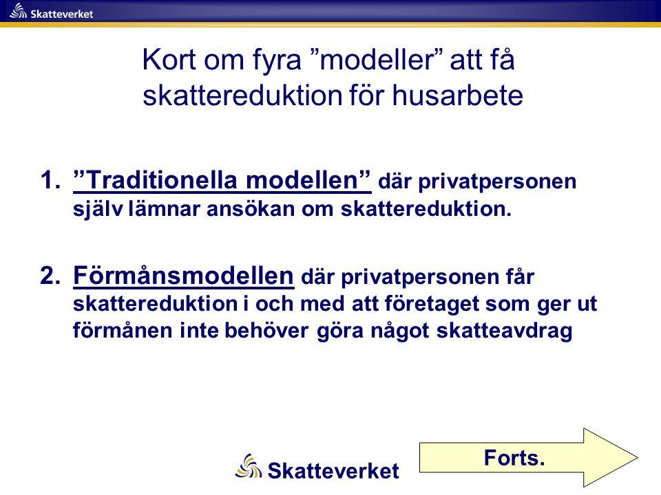 Kort om fyra modeller att få skattereduktion för husarbete