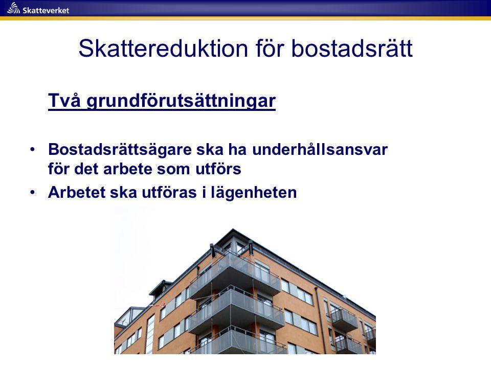 Skattereduktion för bostadsrätt