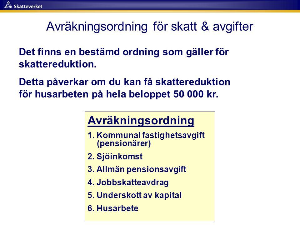 Avräkningsordning för skatt & avgifter