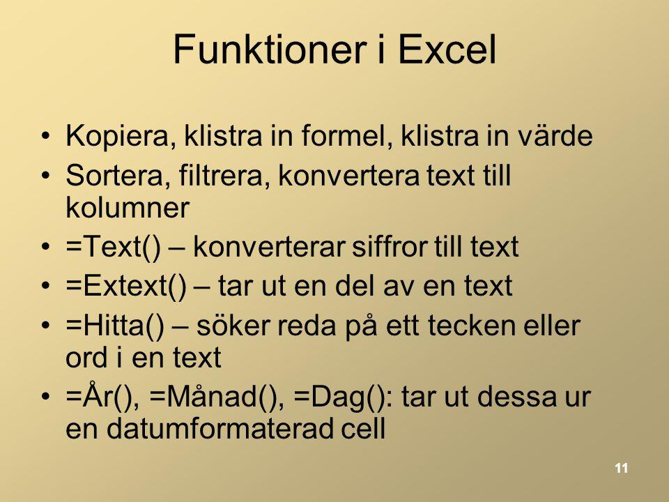 Funktioner i Excel Kopiera, klistra in formel, klistra in värde