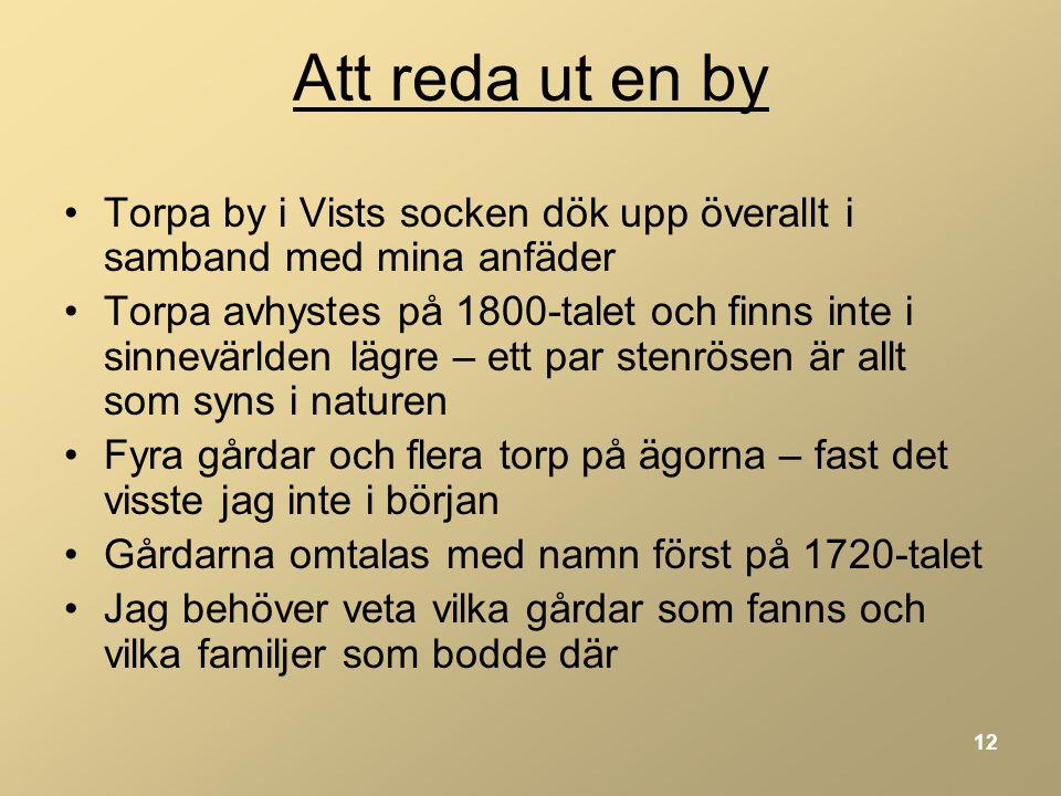 Att reda ut en by Torpa by i Vists socken dök upp överallt i samband med mina anfäder.