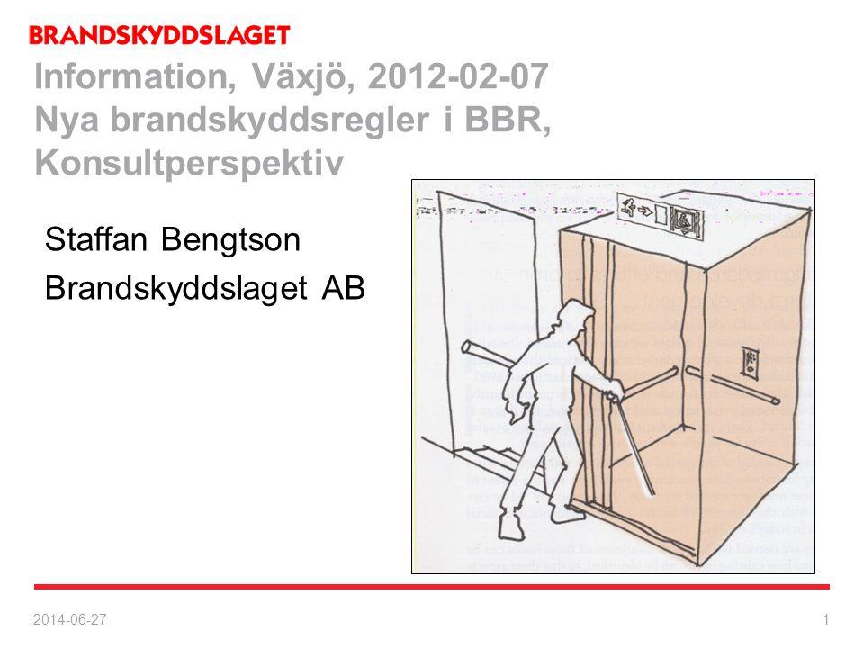 Information, Växjö, 2012-02-07 Nya brandskyddsregler i BBR, Konsultperspektiv
