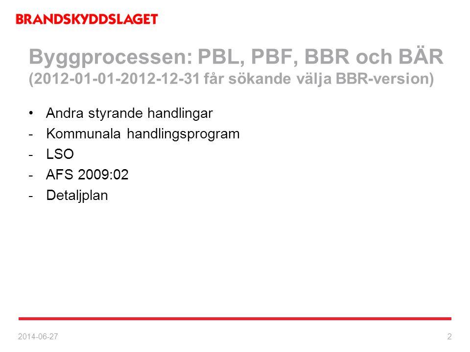 Byggprocessen: PBL, PBF, BBR och BÄR (2012-01-01-2012-12-31 får sökande välja BBR-version)