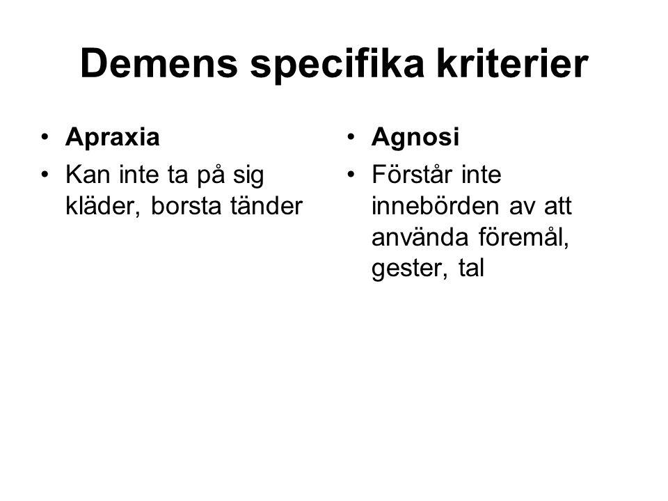 Demens specifika kriterier