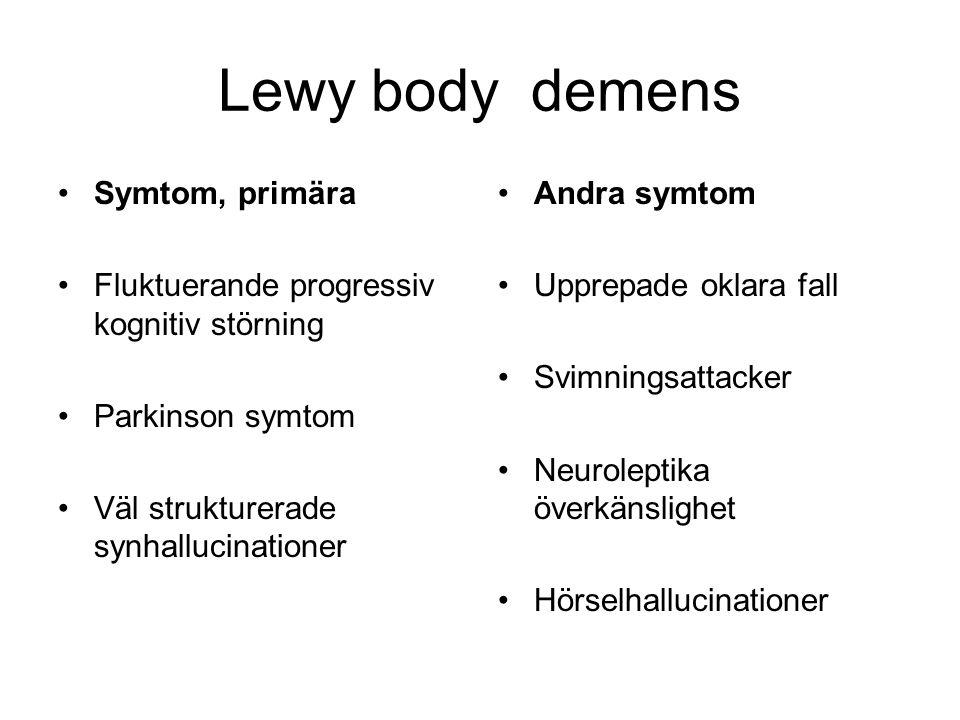 Lewy body demens Symtom, primära