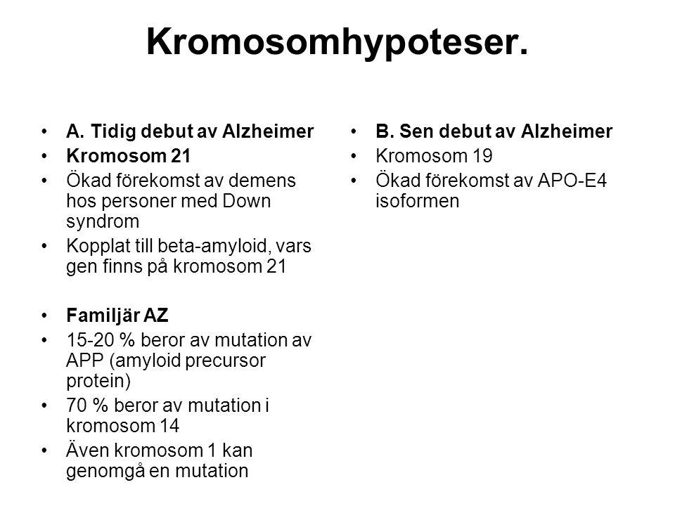 Kromosomhypoteser. A. Tidig debut av Alzheimer Kromosom 21