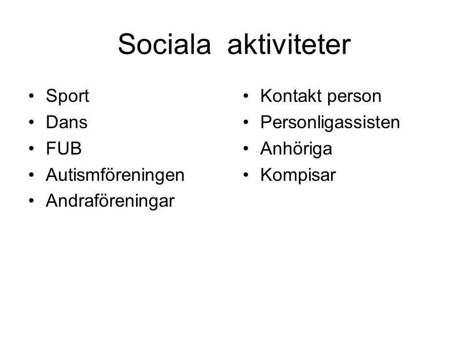 Sociala aktiviteter Sport Dans FUB Autismföreningen Andraföreningar