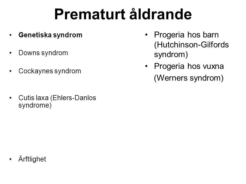 Prematurt åldrande Progeria hos barn (Hutchinson-Gilfords syndrom)