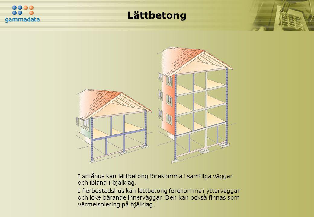 Lättbetong I småhus kan lättbetong förekomma i samtliga väggar och ibland i bjälklag.