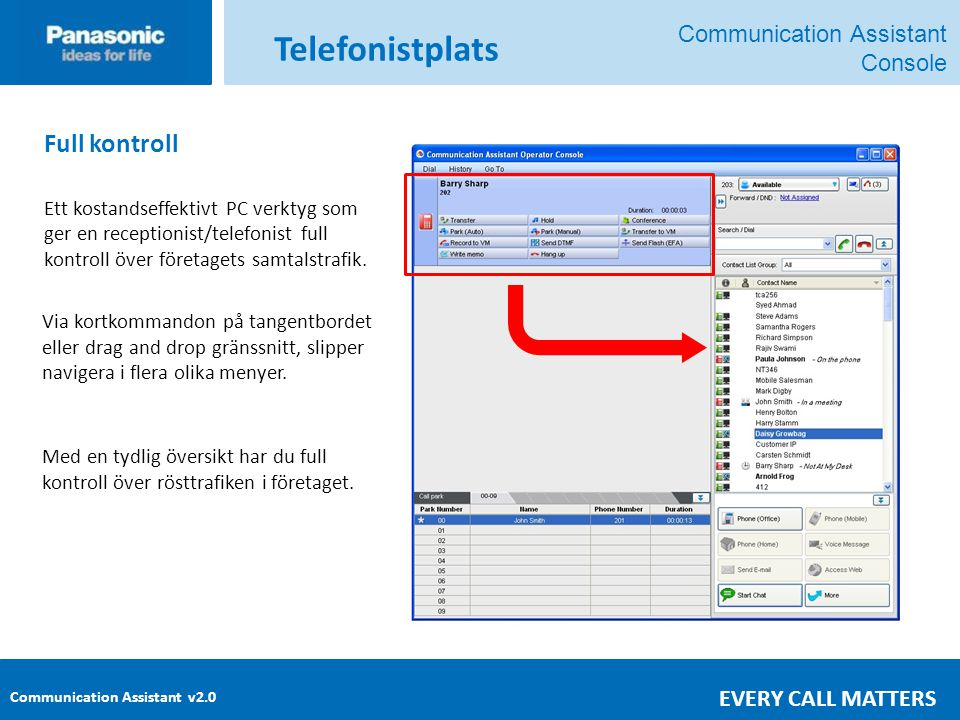 Telefonistplats Full kontroll Communication Assistant Console