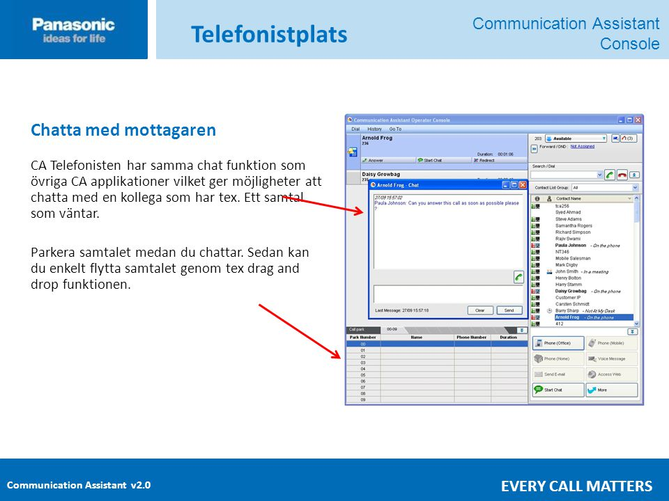Telefonistplats Chatta med mottagaren Communication Assistant Console