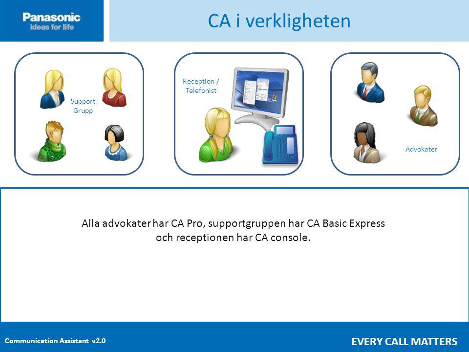 CA i verkligheten Advokater. Reception / Telefonist. Support. Grupp. Alla advokater har CA Pro, supportgruppen har CA Basic Express.